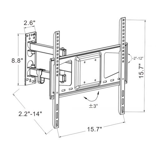 A26 Full Motion Tv Wall Mount For 26 55 Fleximounts