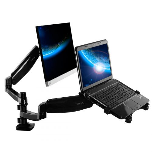 FLEXIMOUNTS L02 DUAL ARM MONITOR & LAPTOP MOUNT (MONITOR 10-24, LAPTOP 11-15.6, 3.3-11 LBS)