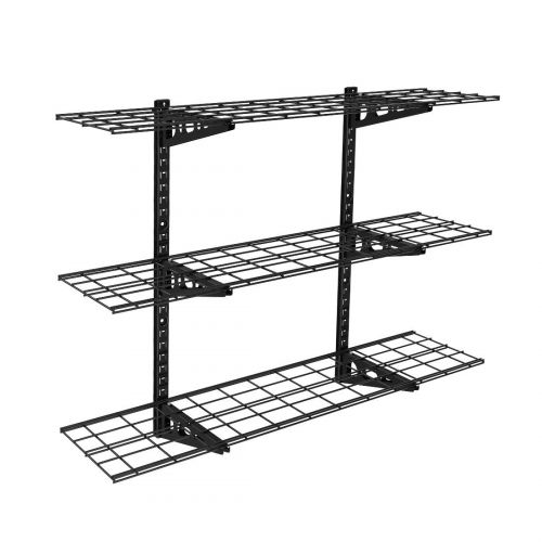 WS14 3 Tier Storage Wall Shelves Black