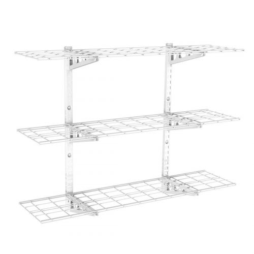 WS14 3 Tier Storage Wall Shelves White