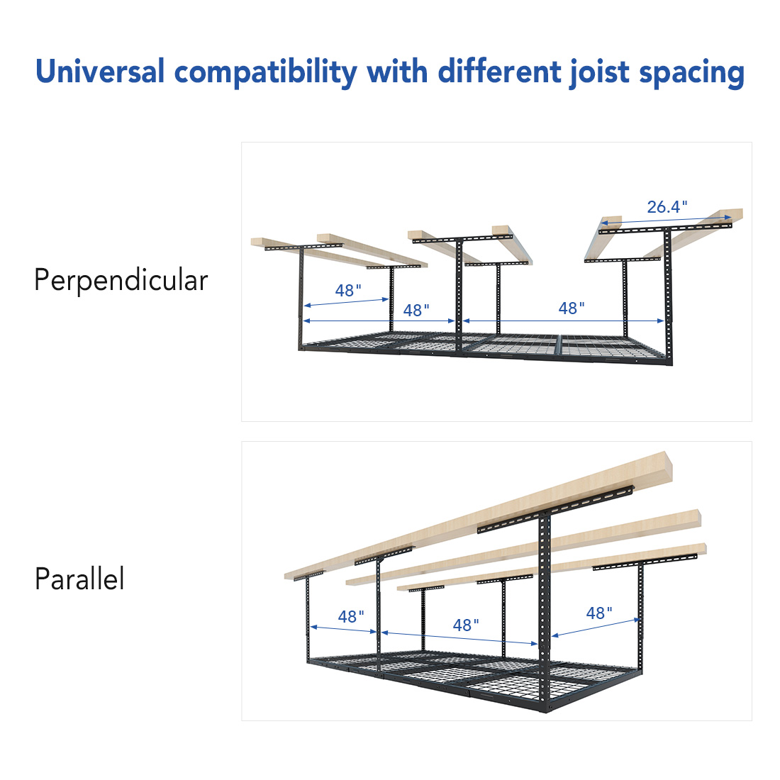 Universal compatibility with different ceiling joists spacing